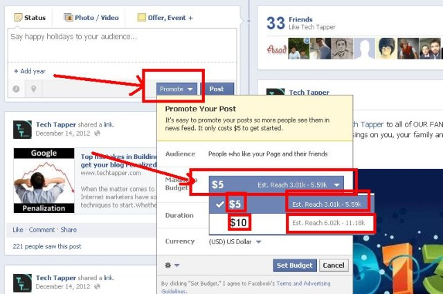 Promote your post on Facebook business page