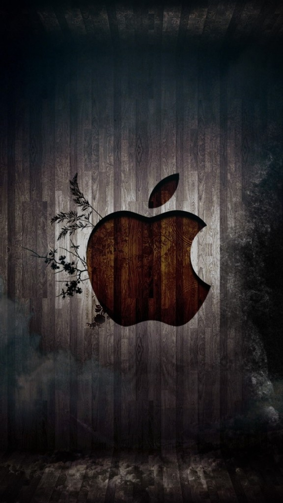 HD Abstract iPhone 5 Wallpaper- brown apple logo