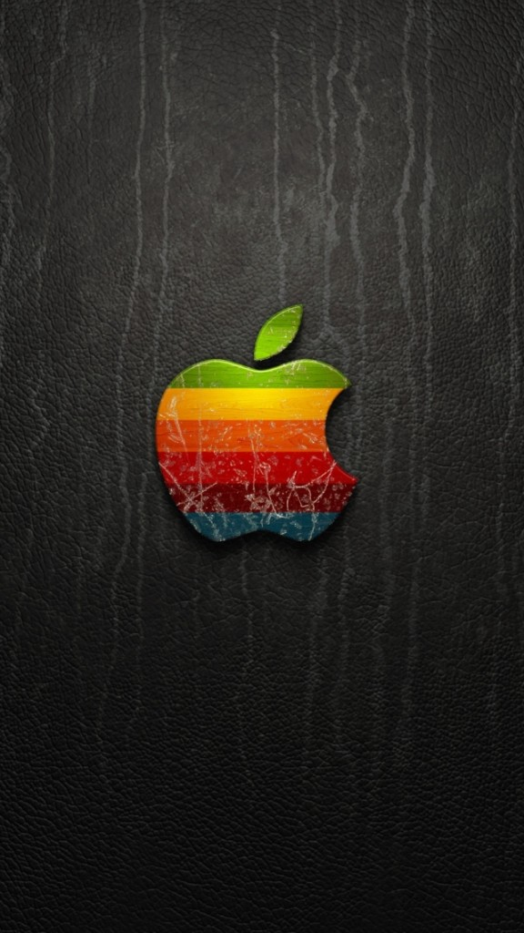 HD Abstract iPhone 5 Wallpaper-Rainbow Apple