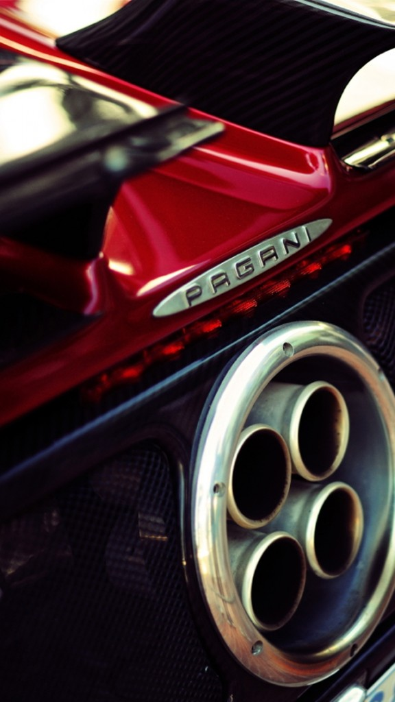 cars wallpapers for iPhone 5 - Pagani Zonda Exhaust