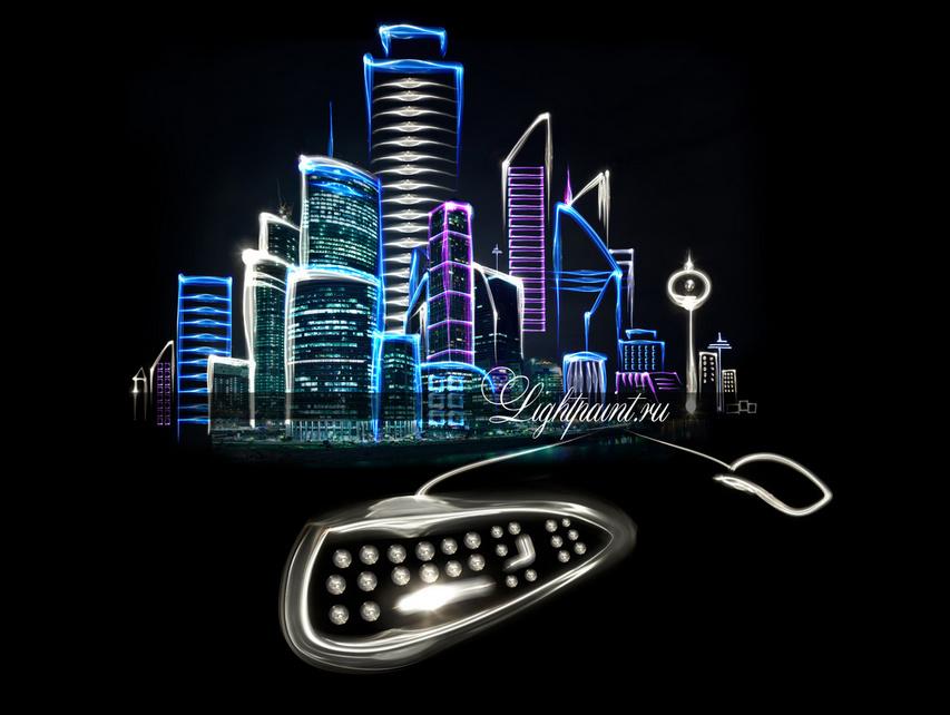 tech city with light