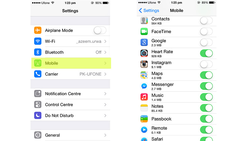Restrict Cellular Data for some Apps to save on your cap